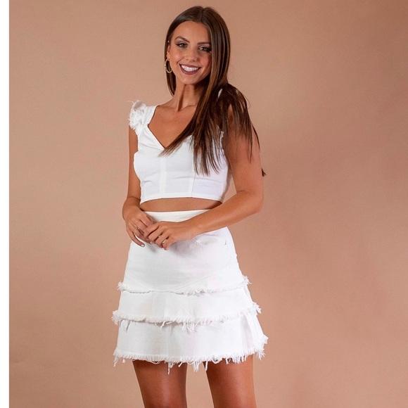 Mink Pink Litsa Skirt in Off White - Small